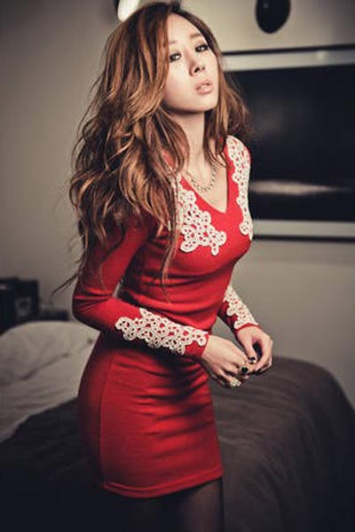 Fashion Long Sleeve V Neck Slim Dress