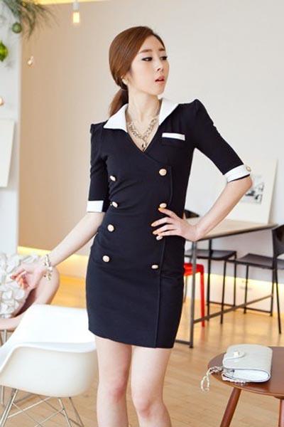 Fashion Medium Sleeve V Neck Slim Dress
