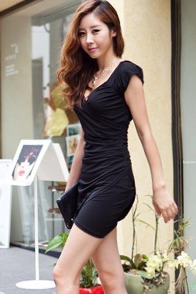 Fashion Short Sleeve V Neck Slim Dress