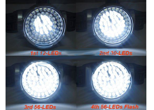 56LED High Power Waterproof Headlight/ Head Lamp/ Hiking Front Light with 4 Modes