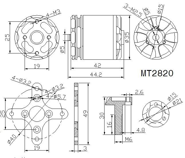 High Performance Brushless T Motor Mt2820 830kv For Copter