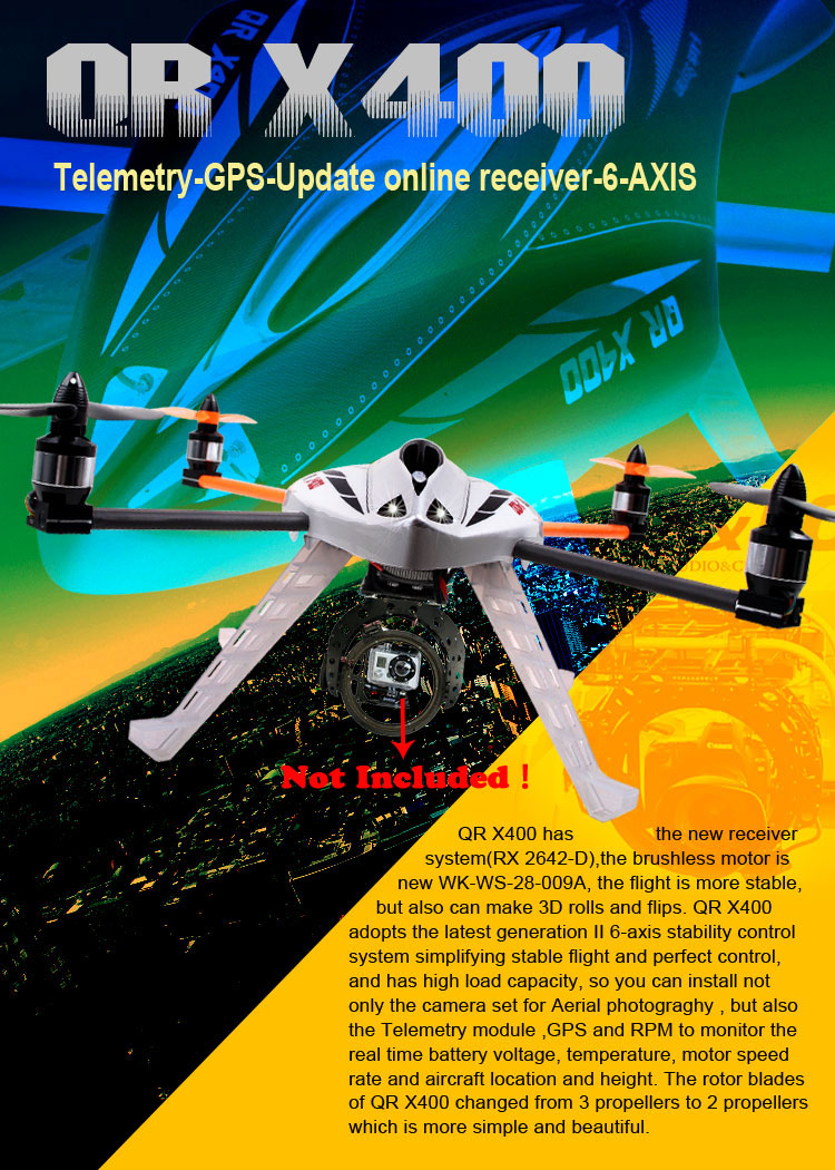 Walkera New QR X400 BNF 6-Achsen-Gyro UFO Quadcopter without Transmitter  with Aluminum Case