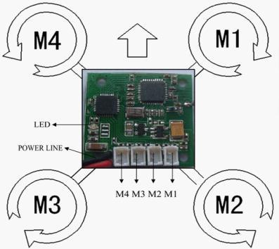 DSM2 Receiver 4-axis Flight-Ctrl Board for JR/Spektrum