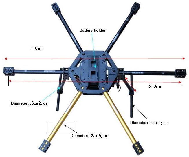 HY-800 LIRIMG FPV Glass Fiber 800mm Wheelbase Hexacopter Frame Set ...
