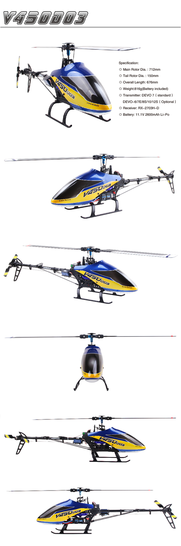 Walkera V450D03 with DEVO 8S Transmitter 6CH 3D 6-axis-Gyro Flybarless Helicopter RTF 2.4Ghz
