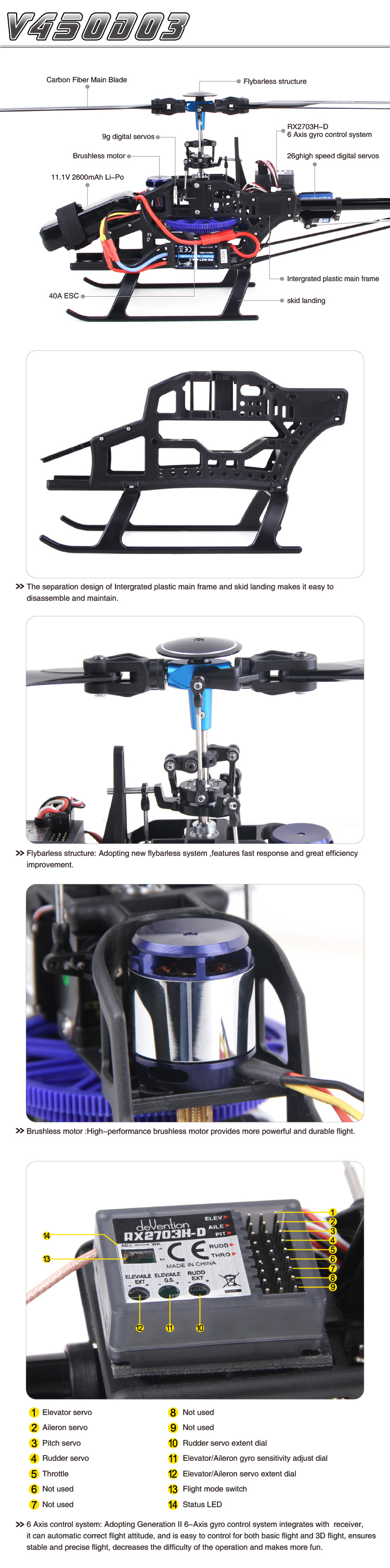 Walkera V450D03 with DEVO 12S Transmitter 6CH 3D 6-axis-Gyro Flybarless Helicopter RTF 2.4Ghz