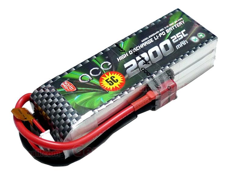 ACE 11.1V 2200mAh 3S 25C LiPo Battery Pack