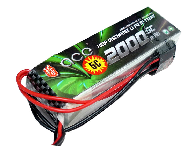 ACE 11.1V 2000mAh 5C LiPo Battery Pack futaba JR Double-headed