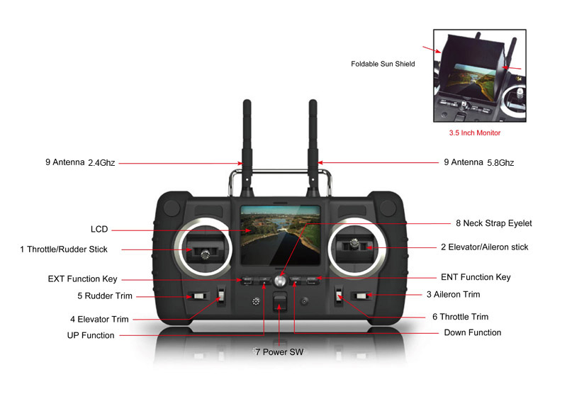 Hubsan FPV Invader Fixed Pitch 4CH Helicopter with 2.4Ghz Radio System RTF H102F