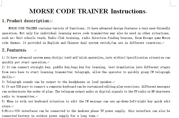 Morse Code Trainer Shortwave Radio Telegraph CW Key Learning
