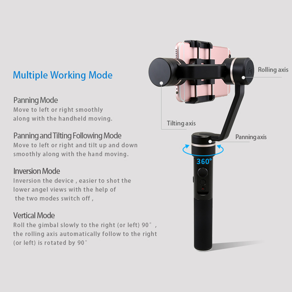 Feiyu Spg 3 Axis Brushless Handheld Gimbal Stabilizer Bluetooth For Steady Smartphones Extra Battrey Smartphone Action Camera