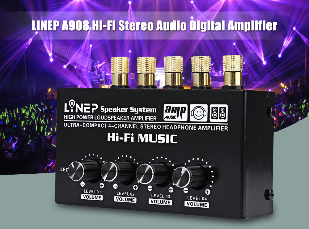 1 In 4 Out Audio Sound Signal Amplifier HiFi 4 Channel Loudspeaker