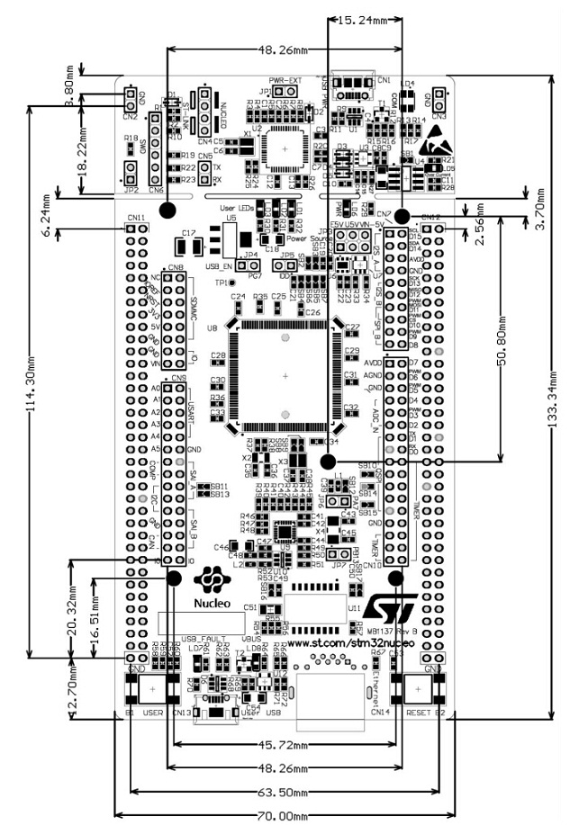 st nucleo-f446ze nucleo-144 mbed development board cortex-m4 compatible with arduino