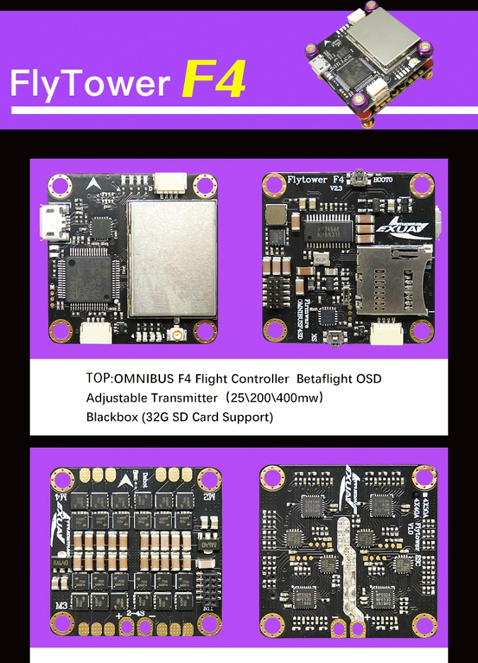 FlyTower F4 Flight Controller Board Integrated with 4 in 1