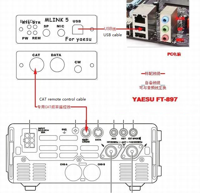 857D FT LINK 5 Radio connector YAESU FT 817ND FT 897D Radio connector