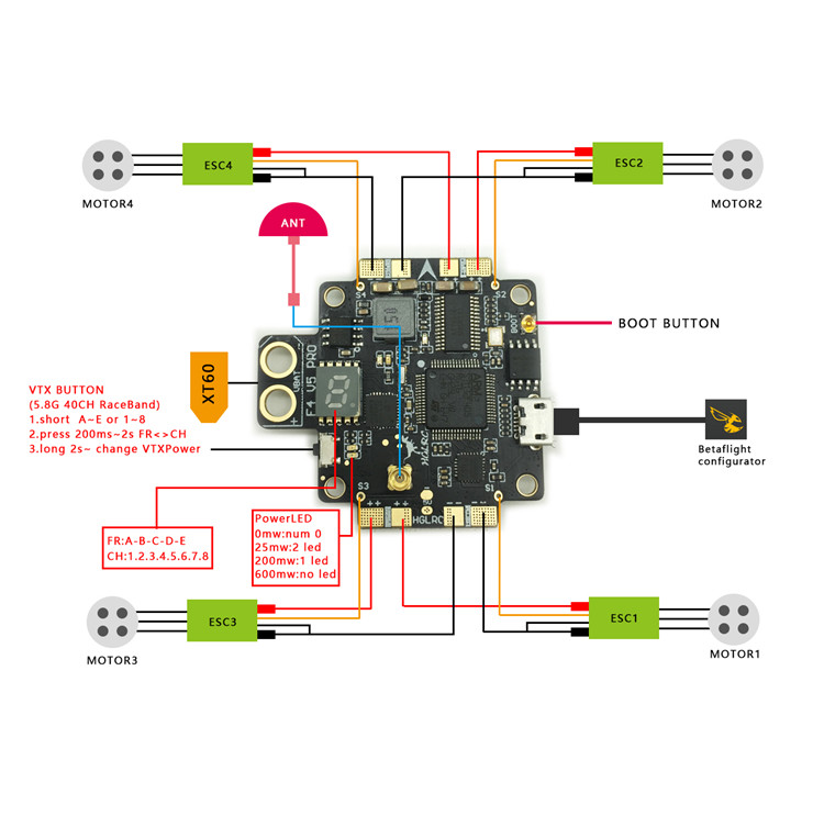 F4 V5 PRO Flight Controller Transmitte OSD PDB Integrated Traversing