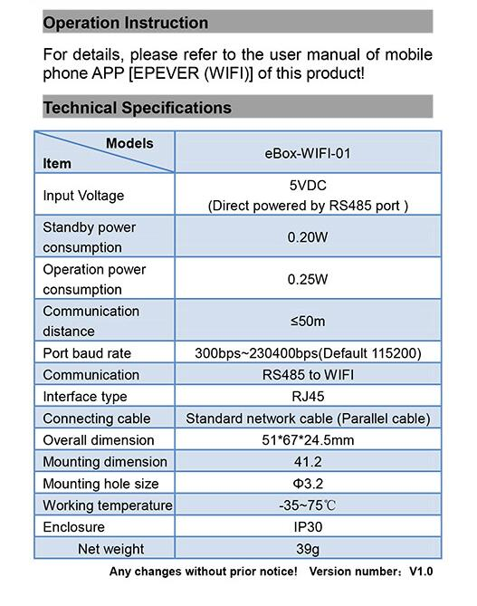 EBox WIFI01 RS485 to WIFI Converter for Epsolar Solar Controller LSB