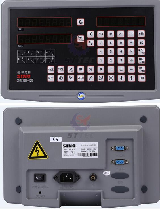 SINO 2 Axis Dro Digital Readout With 2 Pcs SDS6 2V Linear