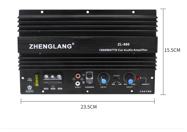 zl980 car audio power amplifier board 1000w high power bass amp subwoofer 3m cable control. Black Bedroom Furniture Sets. Home Design Ideas